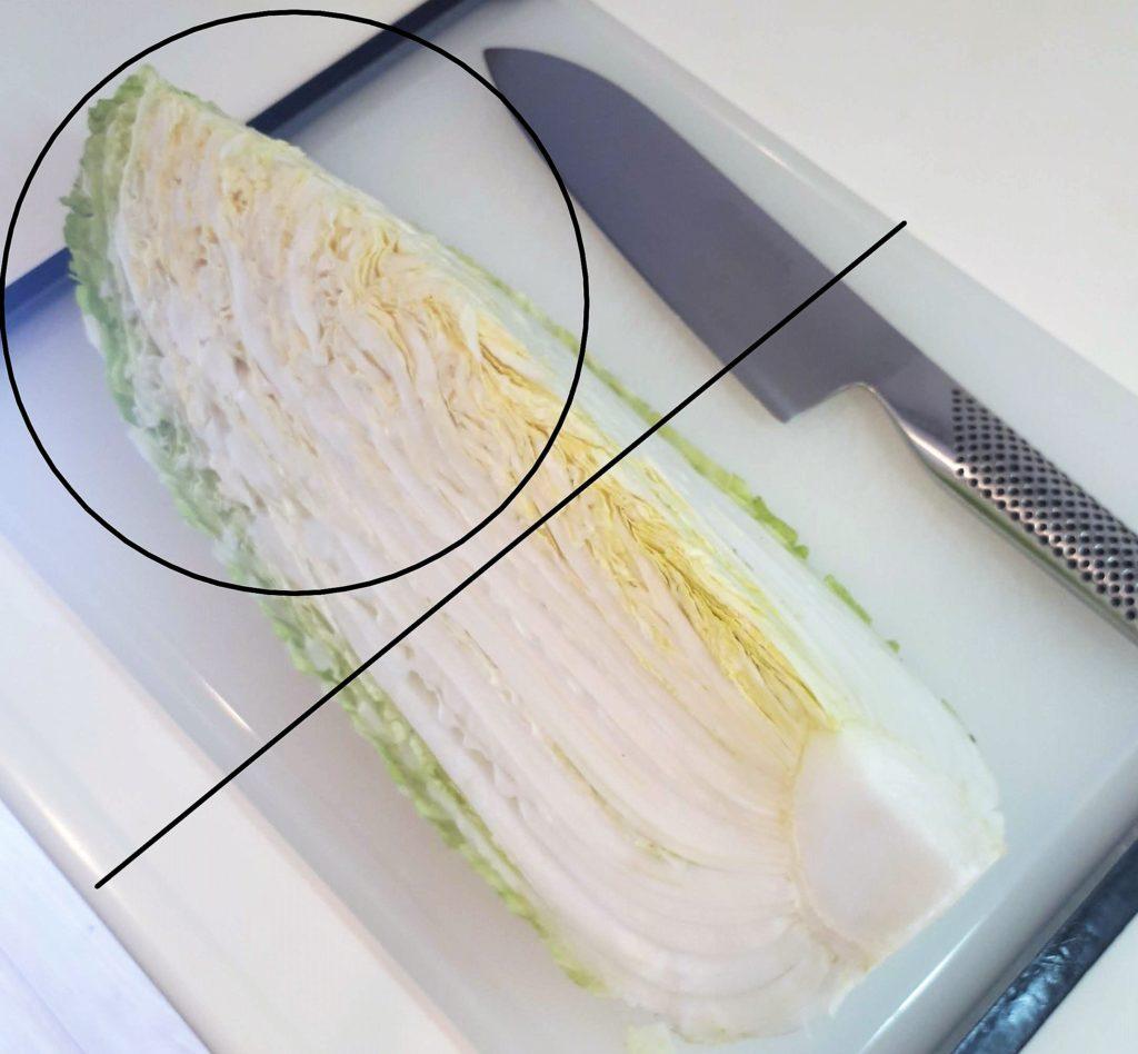 白菜の1/8を使います